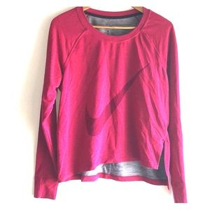 NIKE Dri-Fit WorkOut Sweatshirt Stretch Top Berry